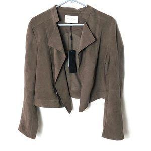 Halston Heritage NWT ultra suede open jacket